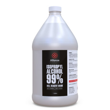 Isopropyl Alcohol 99.9% ACS, Reagent Grade in a one gallon bottle.