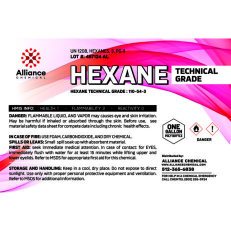 Hexane Technical One Gallon Label