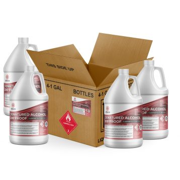 Denatured Ethyl Alcohol pure quality 200 proof applicable solution general home cleaning industrial facilities frequently used solvent removing grime from hard surfaces appliances floors machinery finished products made america